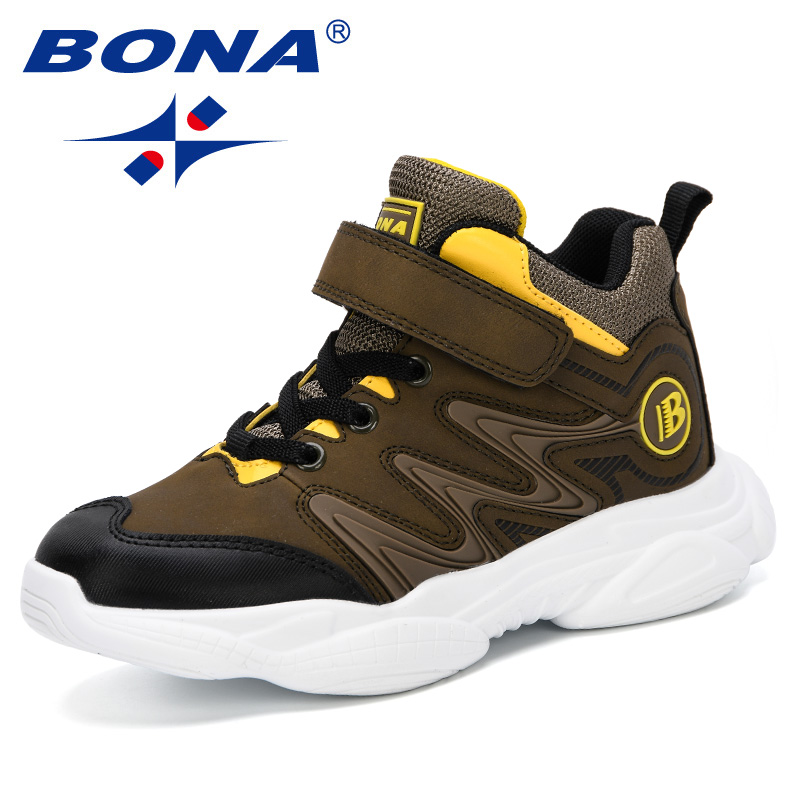 BONA 2019 New Designer Children Shoes High Top Flock Girls Boys Outdoor Sneakers Shoes Kids Breathable Sport Shoes Comfortable