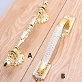 """128 mm de europen moda de luxo de alças 2.5 """" ouro gaveta puxa botões 5 """" ouro da porta alça"""