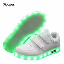 Fashion 25-40 Led Children's Sneakers Kids shoes USB Chargin