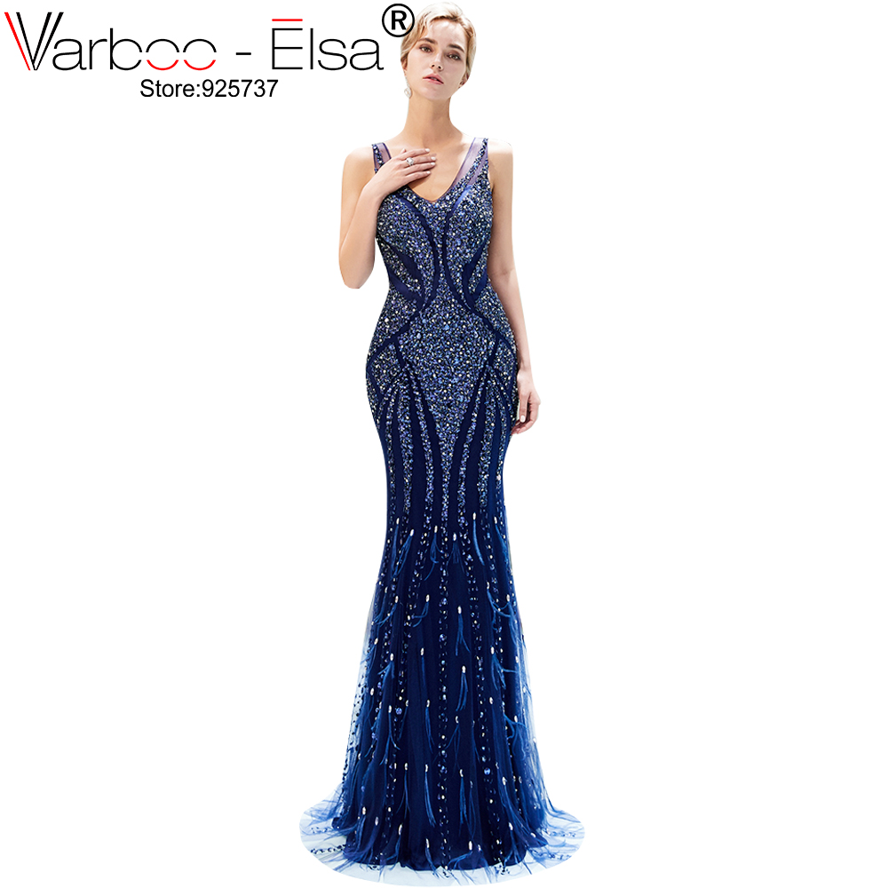 VARBOO ELSA Luxury blue Mermaid Evening Dresses v neck sleeveless Beading Crystal Sparkly Evening Gown Robe