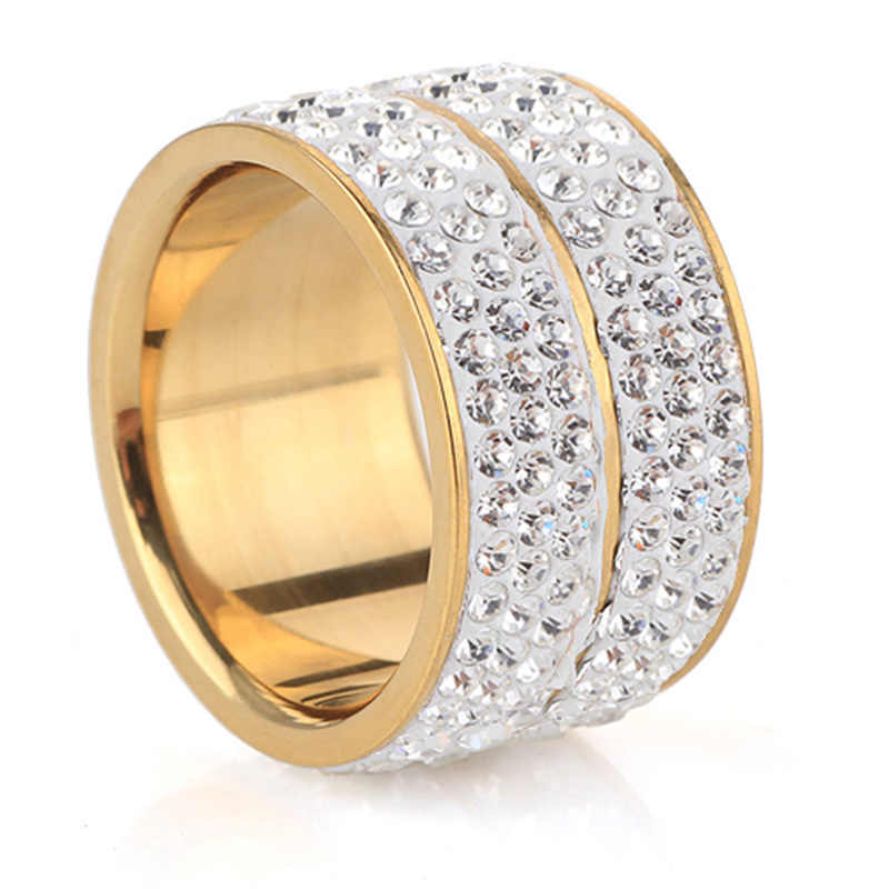 Hip Hop 2 Rows Rhinestone Bling Ice Out Mens Ring Gold Color Titanium  Stainless Steel Rings 303e04db65e2