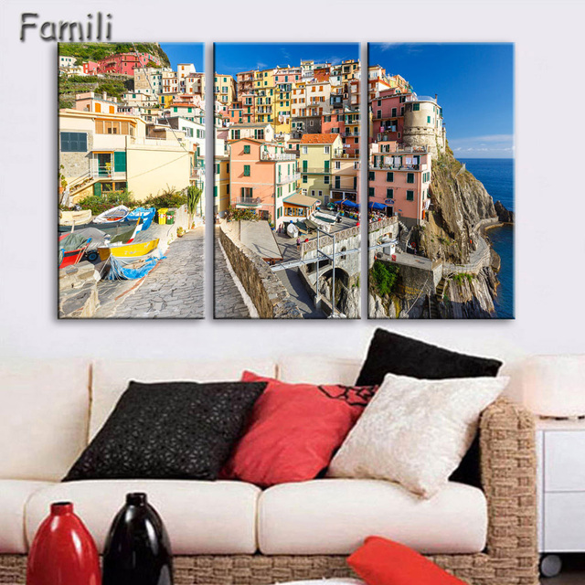 Us 13 13 27 Off Nightlight In Italy Canvas Painting Wall Art Landscape 3pcs Prints Home Decor Picture Panels Poster For Linving Art Painting In