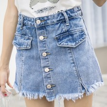 EXOTAO Front Button Shorts Skirts Jeans Summer Mini Mid-Waist Ripped A Word Denim Black Women Distressed Tassel