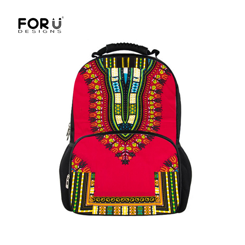 FORUDESIGNS Students School Bags for Teenager African Traditional Printing School Bookbag Kids Girls Shoulder Bagpack Softback