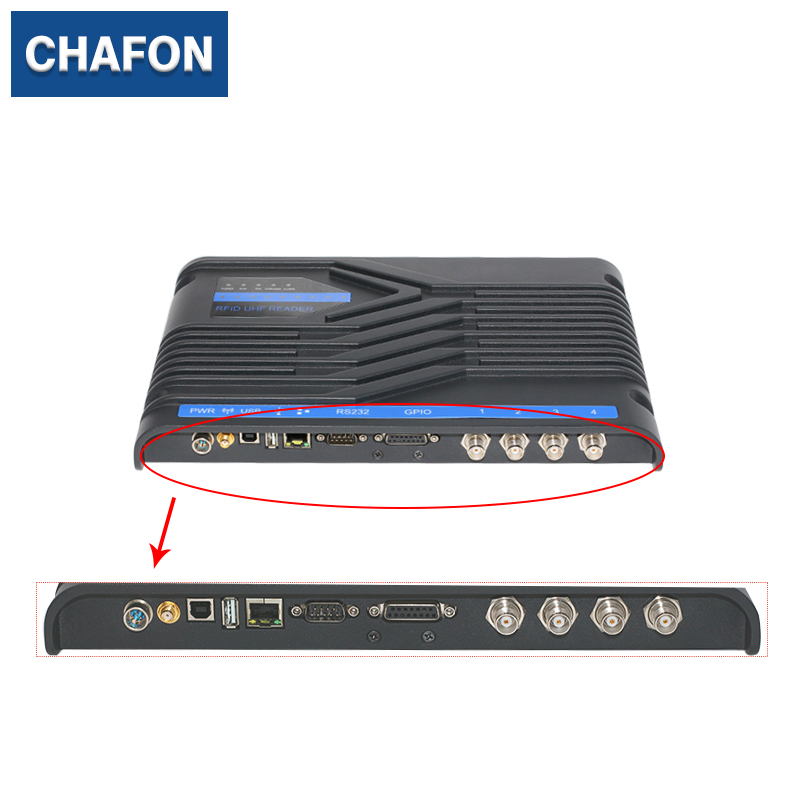 CHAFON Impinj R2000 uhf 4 channels rfid reader writer with RS232/RS485/TCP/IP/USB interface free SDK for rfid marathon timing 15m uhf rfid long range reader with tcp ip wg26 rs232 rs485 interface free sdk used for parking management