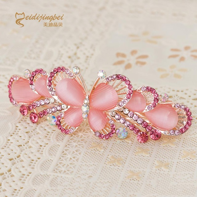 Opal rhinestone butterfly hairpins for women rose gold color zinc