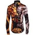 Luxury Dragon Print Shirt Men 2017 Brand Design Mens Dress Shirts Fashion Slim Fit Chemise Homme Casual Camisa Masculina 4XL