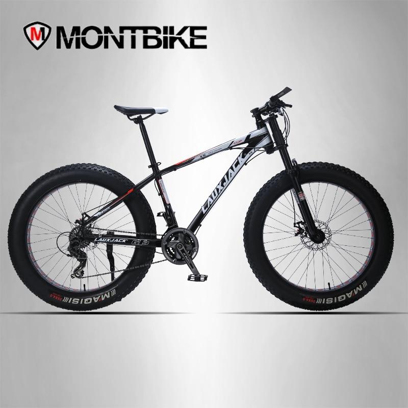LAUXJACK горный велосипед алюминиевая рама 24 Скорость механические тормоза 26x4,0 колеса длинные вилка фэт-байке