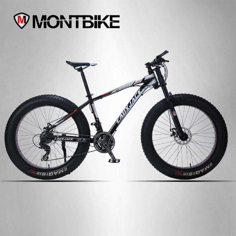 LAUXJACK bicicleta de montaña marco de aluminio 24 velocidad frenos mecánicos 26x4,0 ruedas tenedor largo grasa