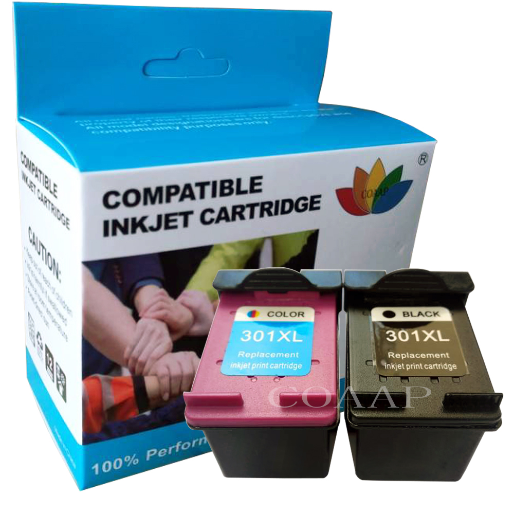 2pk Replacement HP301 HP 301 <font><b>HP301XL</b></font> Refilled ink cartridge for DeskJet 1050 2050 2050s 2510 3510 D1010 1510 2540 4500 printer image