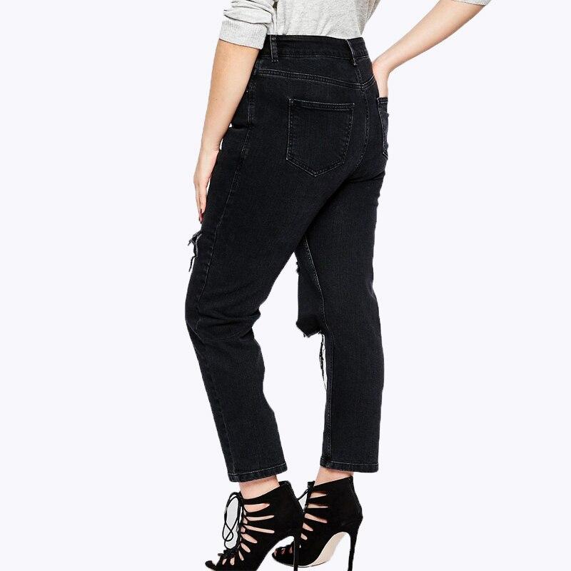 f1bc64b20a Ripped Vaqueros para las mujeres 6xl 5xl tamaños grandes Pantalones 2016  antumn moda negro agujeros streetwear largo Vaqueros mujer Cremalleras  bolsillos ...