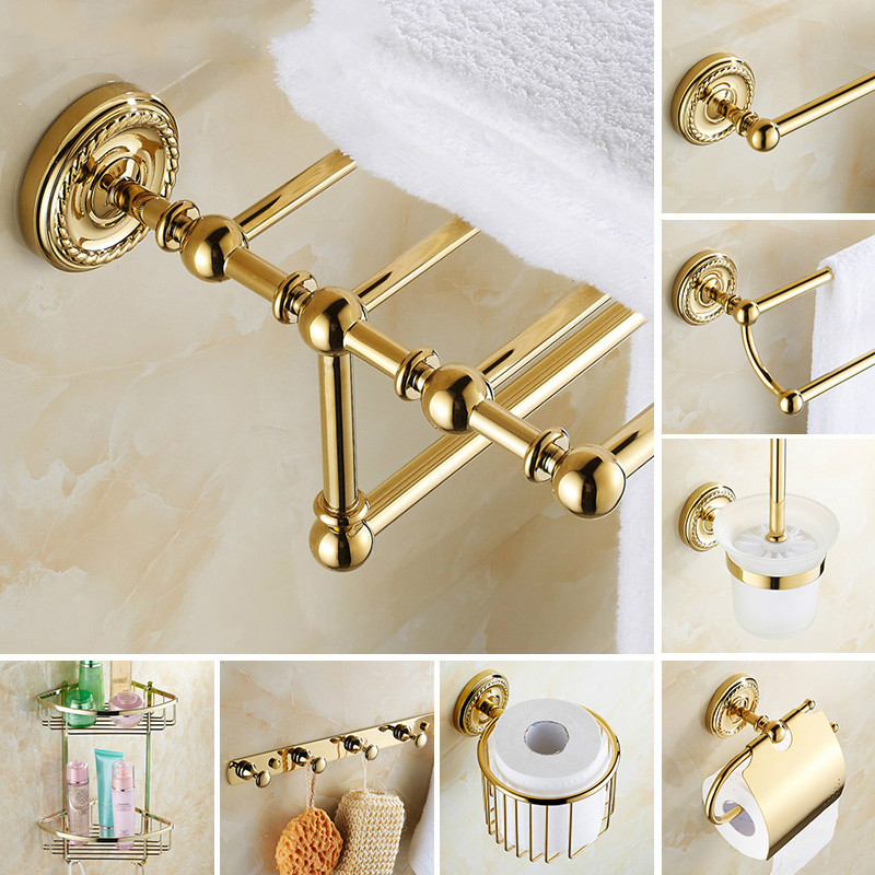 Europe Antique Bathroom Accessories Sets Gold Bathroom Products Brass Chrome Finish Gold Carved