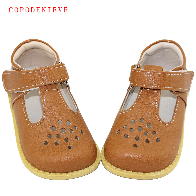 COPODENIEVE Summer Genuine Leather Children Sandals For Girls Hollow Out Bowtie Kids Sandals Heart-Shaped Girls Princess Shoes