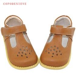 Sandalias de Niños de cuero genuino de verano de COPODENIEVE para niñas ahueca hacia fuera las sandalias de Bowtie para niños zapatos de princesa con forma de corazón para niñas