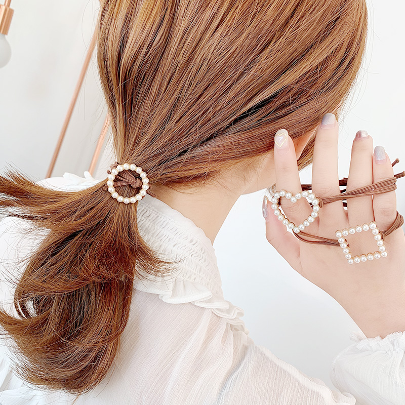 New Women Cute Circle Square Heart Pearls Elastic Hair Bands Scrunchies Hair Ropes Ponytail Holder Rubber Bands Hair Accessories