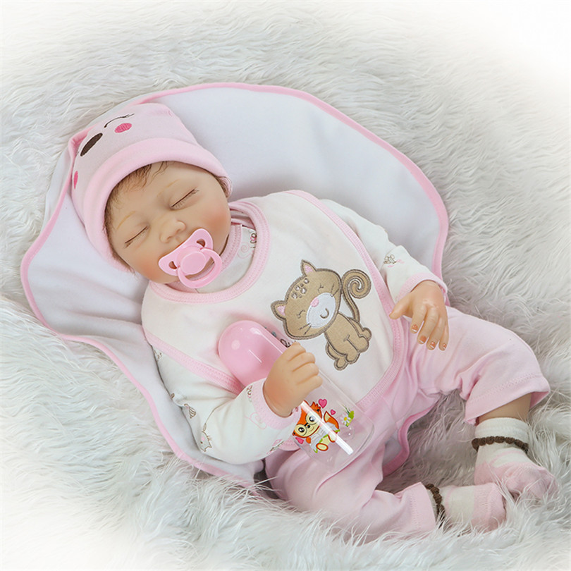 Sleeping Silicone Newborn Dolls With Pacifier Bottle Alive Real Touch Bonecas Imported Rooted Mohair Hair Collection Reborn Toys