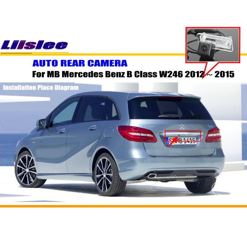 Liislee Car Rear Camera For Mercedes Benz B Class W246 2012~2015 / Back Parking Camera / NTST PAL / License Plate Lamp OEM laijie wireless car camera for mercedes benz e class w212 s212 c207 2009 2012 auto reversing parking camera hd ccd ntsc pal