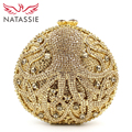 NATASSIE High Class Gold Octopus Shape Luxury Crystal Clutch Bag Fashion Women Evening Clutch Purse L1009