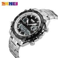 SKMEI Fashion Watches Men Dual Display Quartz LED Electronic Watch 30M Waterproof Stainless Steel Strap Wristwatches