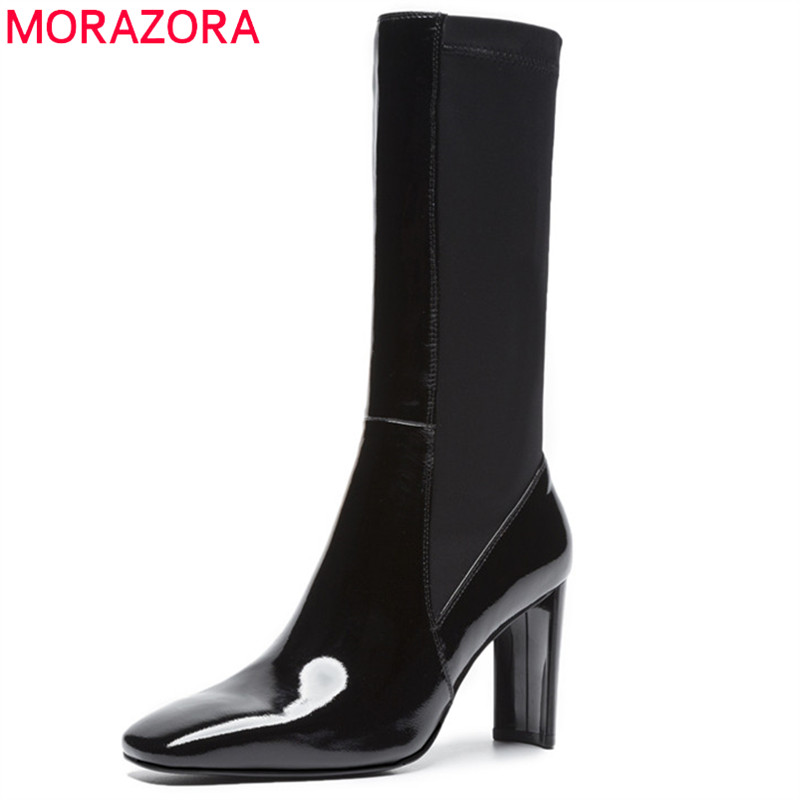 MORAZORA 2019 new arrival mid calf boots women genuine leather autumn winter boots solid colors high heels boots dress shoes