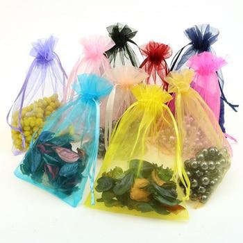 Gran oferta 50 unids/lote 10x15cm bolsas de organdí de colores mezclados bolsas de regalo de boda de Navidad bolsas de regalo de tul joyería bolsas de dulces oferta barata