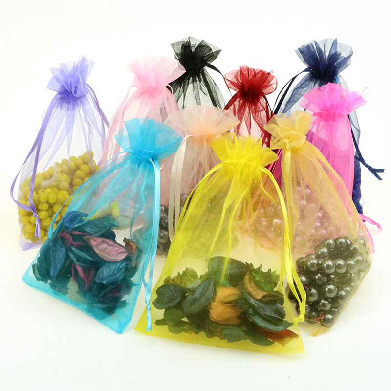 Hot Sale 50pcs/lot 10x15cm Mixed Color Organza Bags Christmas Wedding Favor Gift Bags Tulle Jewelry Candy Pouches Cheap Sale 25 35cm 10 pcs lot faory christmas organza bags mini plastic bags