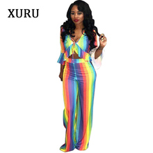 XURU Women Two Piece Set Jumpsuits Romper Colorful Striped Half Sleeve Ruffles Elegant Jumpsuit Lady 2 Wide Leg