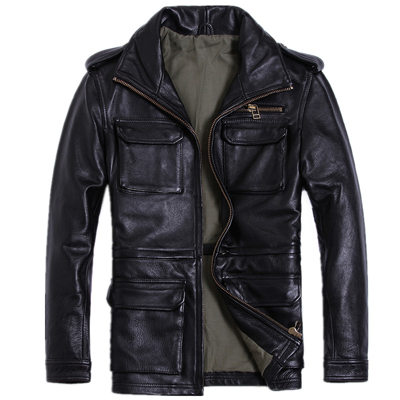 2018 Black Men Genuine Leather Jacket Stand Collar Plus Size XXXL Thick Cowhide Slim Fit Military M65 Leather Coat FREE SHIPPING