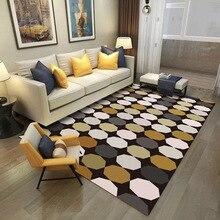 Модный современный многогранный ковер в форме круга, желтый, серый, белый, для спальни, гостиной, короткий Хрустальный бархатный нескользящий дверной коврик