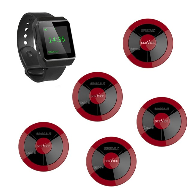 SINGCALL Serving System 5 multi-key pagers plus 1 wrist watch  receiver for waiters call in restaurant, hotel, cafe,bank, office
