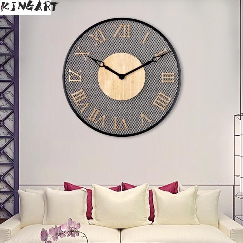 Ferro Simples Rodada Relógio de Parede Digital Grande Relógio de Parede de Metal Para Casa Decoração Sala de Estar Quarto & Sala de Jantar Pendurado Relógio de Parede