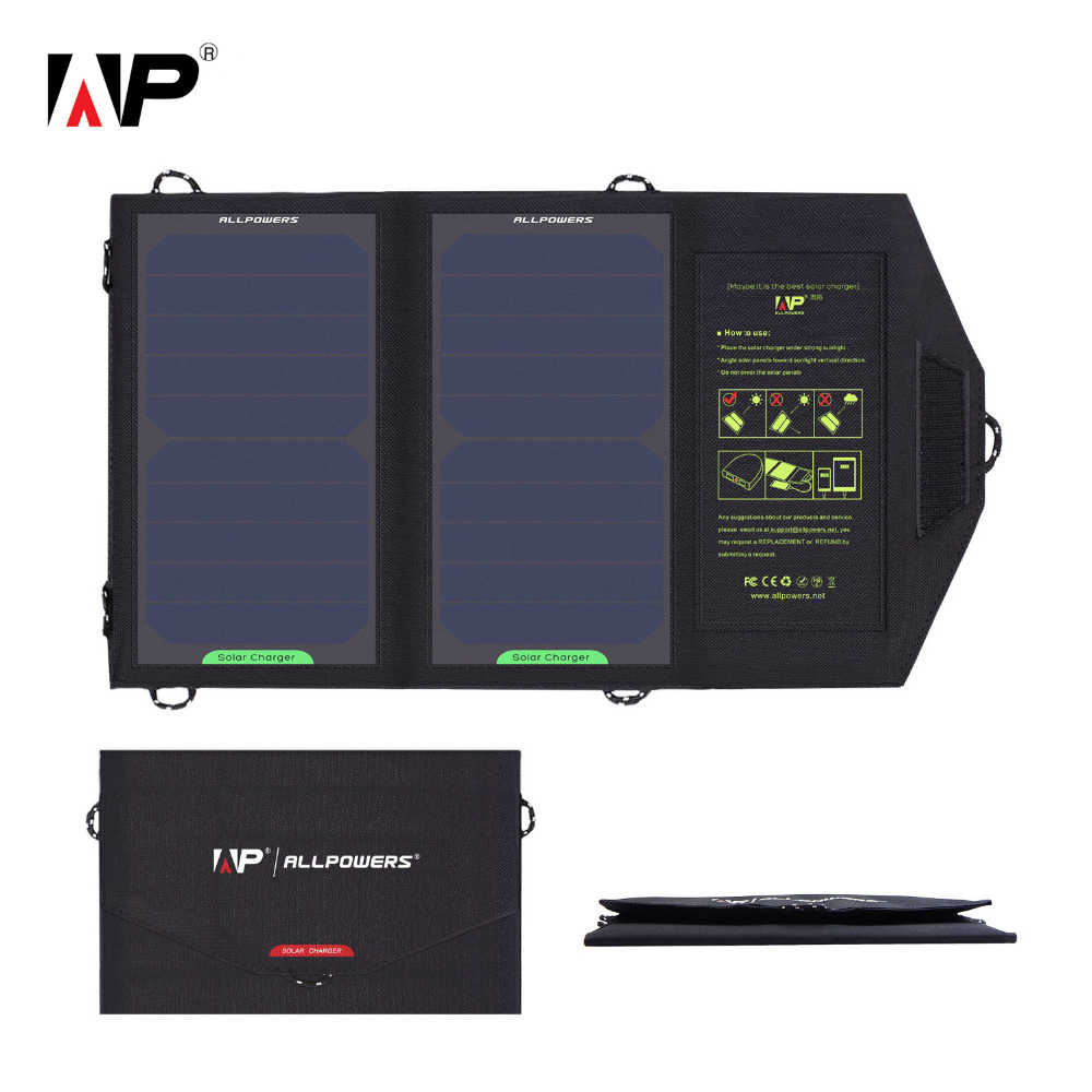 ALLPOWERS Folding Camping Solar Panel 5V 10W  Charger Outdoor Backpack Mobile Power Bank for Phone USB Solar Battery Charging