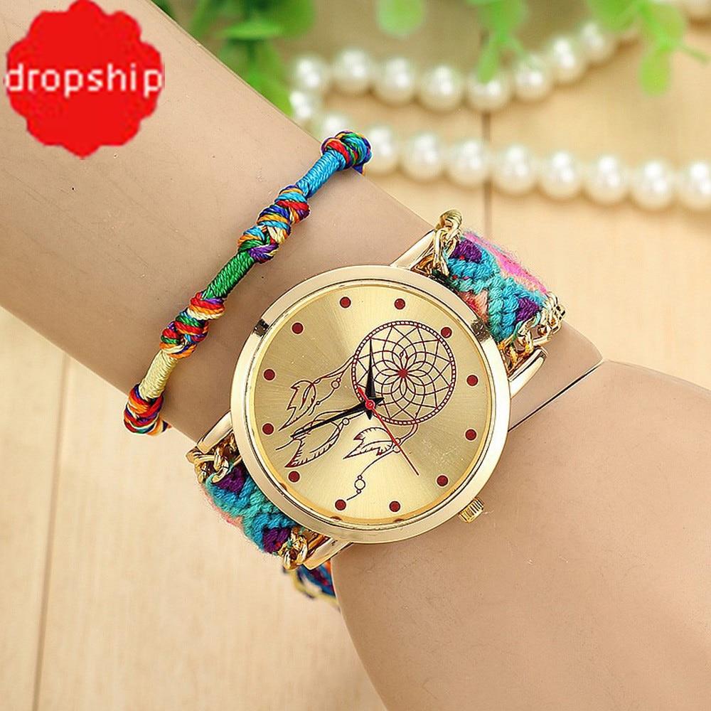 Drop shipping Native Handmade Ladies Vintage Quartz Watch Dreamcatcher  Friendship Watches Female Clock ea7da028d2a2