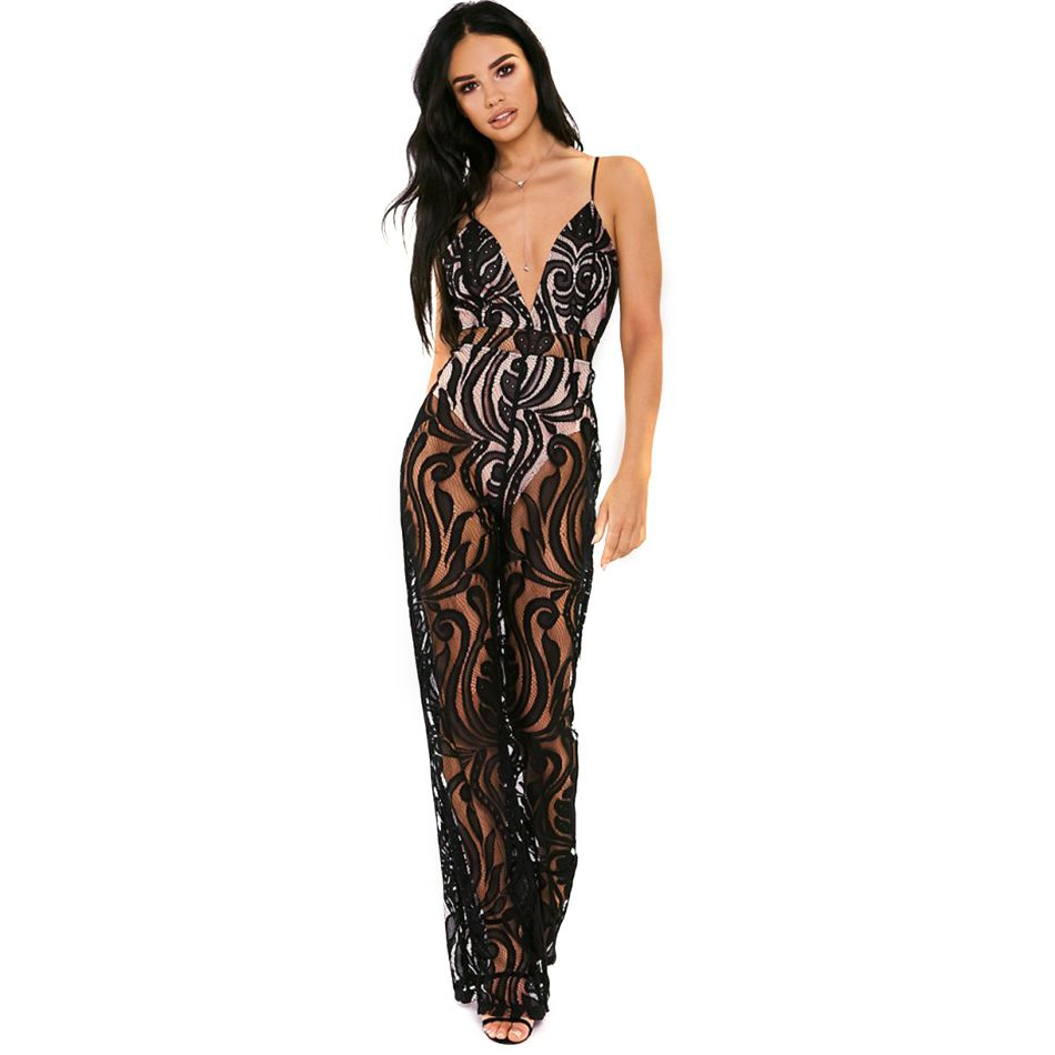 Spaghetti Strap V-Neck Sexy Elegant Lace Runway jumpsuits