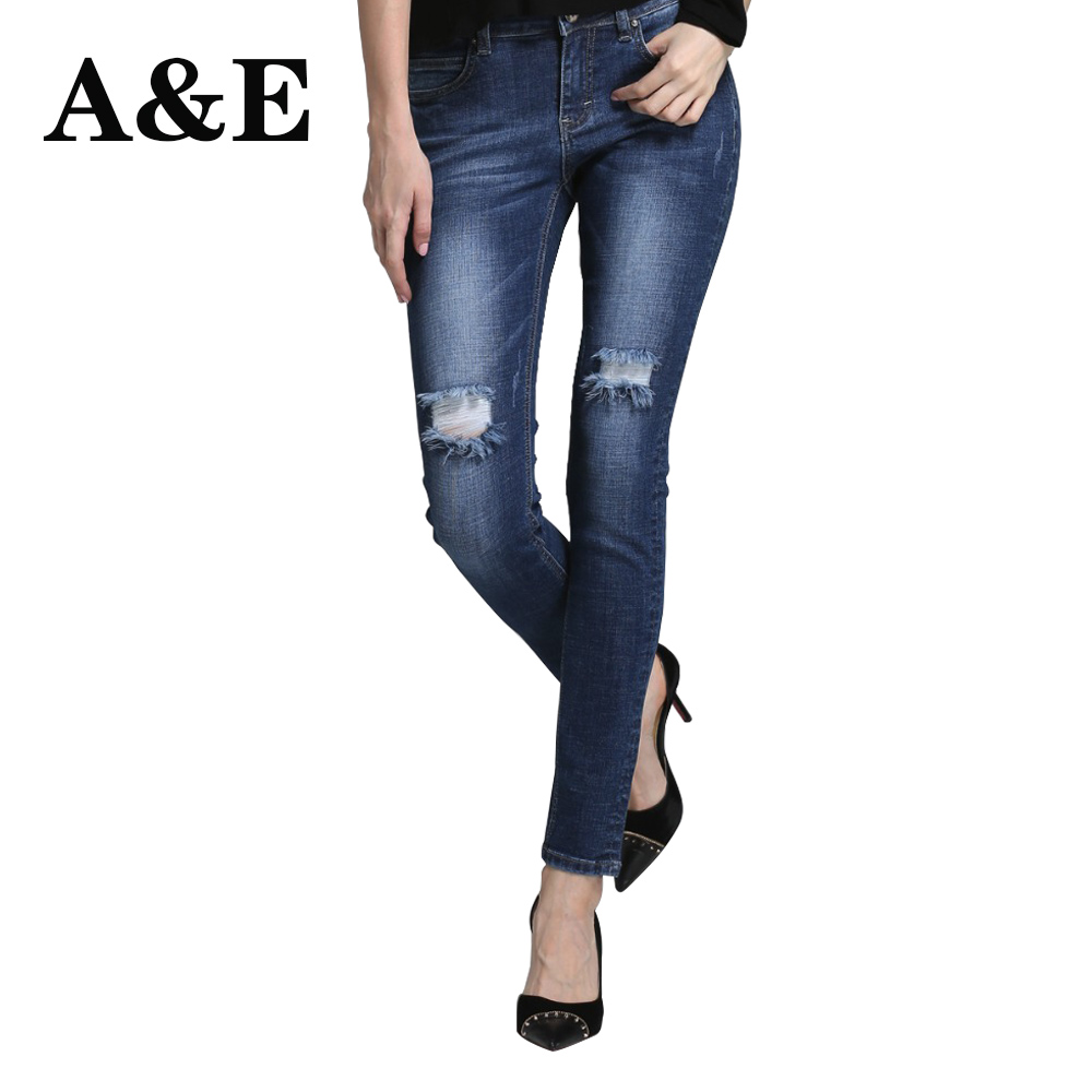 Alice & Elmer Women's jeans straight For Girls  Mid Waist Stretch Female Jeans  Pants Torn jeans for women