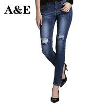 Alice & Элмер Для женщин джинсы прямые для Обувь для девочек MID пояс стрейч женские Джинсы для женщин Брюки для девочек рваные джинсы для женщин