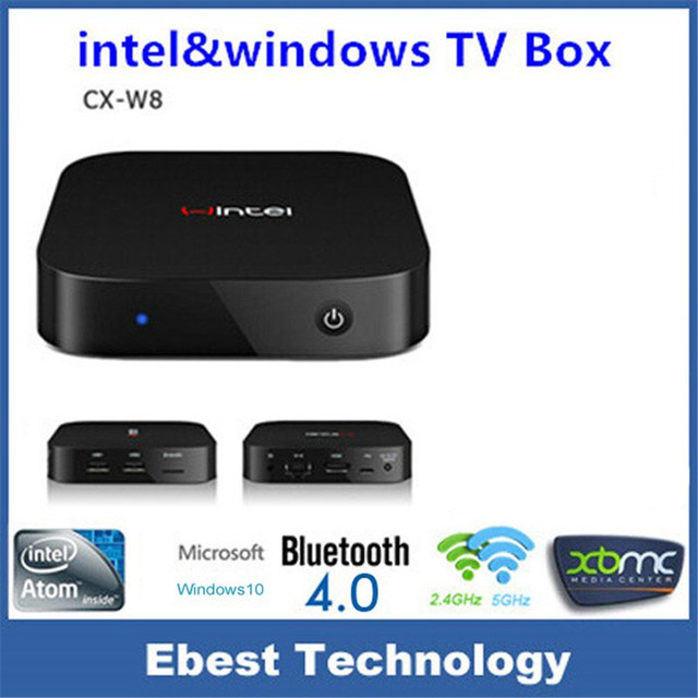 Muti-función Original Fresco Portátil Mini Wintel W8 Z3735F Quad Core Arranque Dual WiFi Smart TV Caja 2 GB/32 GB Bluetooth 4.0