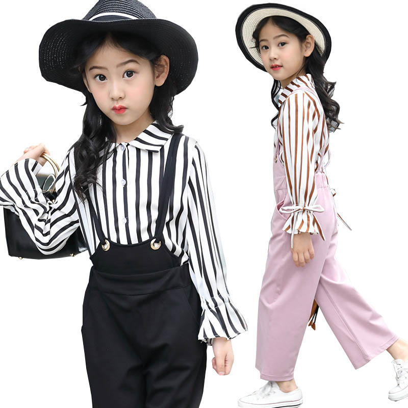 Girls clothing set girl fashion suit teenage girls clothes school children clothes striped shirt Overalls kids clothes tracksuit girls clothing sets girl fashion suit teenage girls clothes school children clothes striped shirt vest kids clothes tracksuit