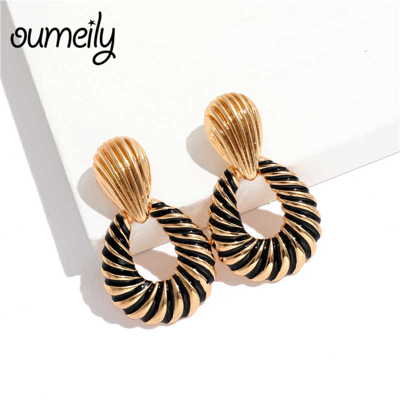OUMEILY Drop Earrings For Women Fashion ZA Wedding Jewelry 2018 Dangle Vintage Statement Long Hanging Black Gold Color Earrings