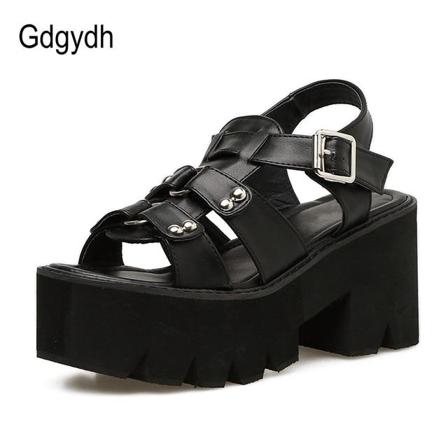 c576a0cba14 Gdgydh Chunky Heel Sandals Woman Platform Punk Shoes 2019 New Summer ...