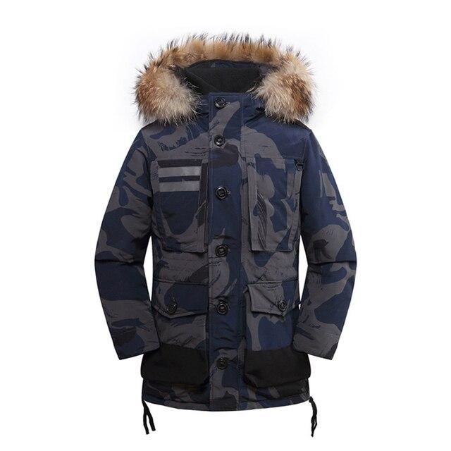 Men s ski coat in the long down jacket Russian size windproof warm men s  goose down coat 692889d90