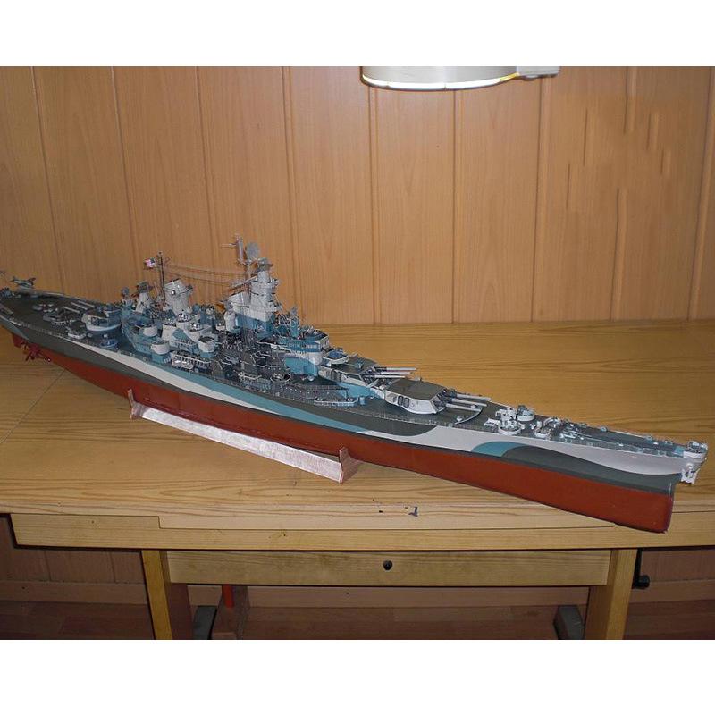 1:280 US Missouri Battleship 3D Paper Model Cruiser USS MISSOURI Warship Diecast Nautical Model Manual DIY Military Gifts Toys