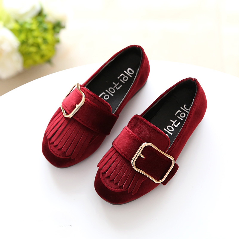 Spring Autumn Girl Princess Dancing Shoes Casual Fringe Flats Children Soft soled Moccasins Cute Big Buckle