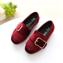 Spring Autumn Girl Princess Dancing Shoes Casual Fringe Flats Children Soft-soled Moccasins Cute Big Buckle Students Loafers