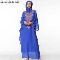 Пользовательские мусульманский хиджаб вечерние платья 2018 Новое вышивка Кристалл Королевский синий цвет Арабский Вечерние платья премиум
