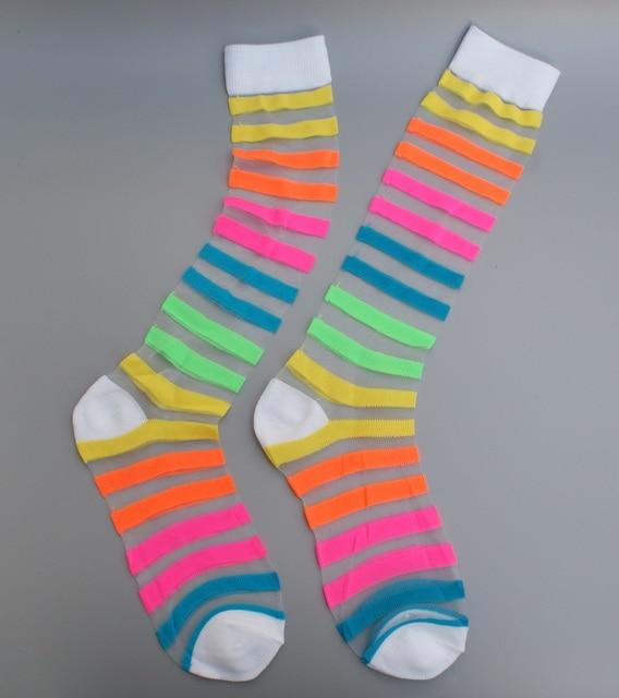 Girls Womens Neon Bright Colour Long Socks Over Knee Length Plain UK 4-7