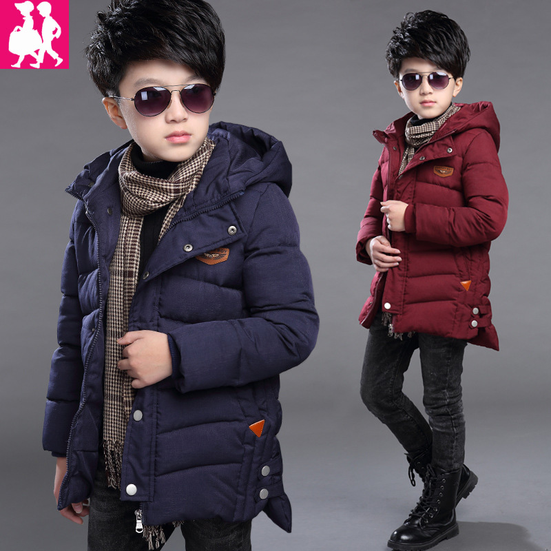 цена 2018 Boys Winter Jacket For Boy Coats Warm Casual Outerwear Boys Children's Winter Jackets 90% Duck Down Solid Color Kids Coat