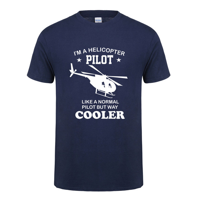 7f097c9c Omnitee New I'm a Helicopter Pilot T Shirts Men Funny Cooler Than Normal  Cotton Short Sleeve Helicopter T-shirt Tee OT-742
