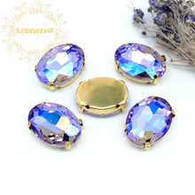 Crystal violet AB Dazzle color oval shape Glass Crystal sew on rhinestones with GOLD four claw Diy weddingdress Free shipping(China)