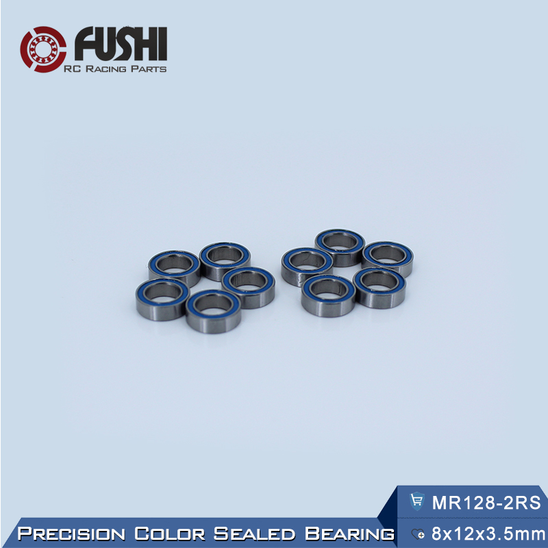 MR128RS Bearing ABEC-3 (10PCS) 8*12*3.5 mm Miniature MR128-2RS Ball Bearings RS MR128 2RS With Blue Sealed L-1280DD 6702rs bearing abec 3 10pcs 15 21 4 mm thin section 6702 2rs ball bearings 61702 rs 6702 2rs with orange sealed